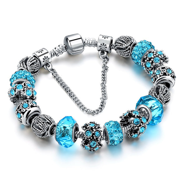 Elegant Lady's Blue Crystal Glass Beads Friendship Bracelet Silver Plated