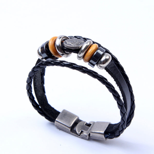 Men's Braided Genuine Leather Vintage Style Bracelet Stainless Steel Cuff Bracelet