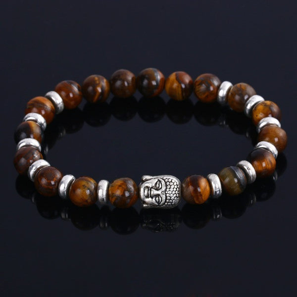 Hot - Natural Stone Beads Buddha Bracelet with Sliver Plated BUDDHA Charm For Women