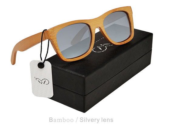 UniSex Pilot Bamboo Sunglasses Polarized Lenses Outdoor Bamboo Sunglasses W/Case