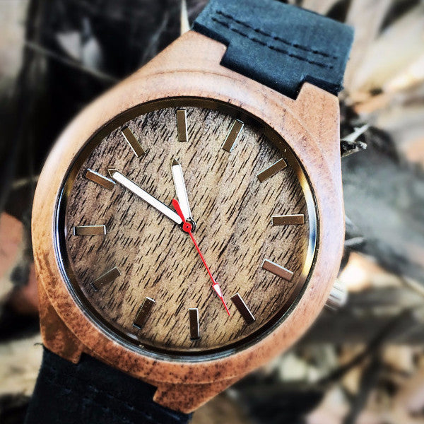 Men's Bamboo Watch w/Forest Wood Face & Luminous Hands