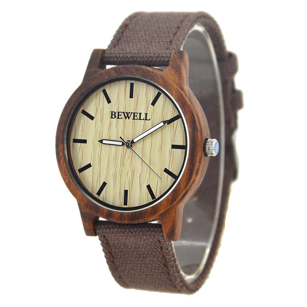 Men's Elegant Dress or Casual Natural Wood & Bamboo Watch w/ Paper Gift Box