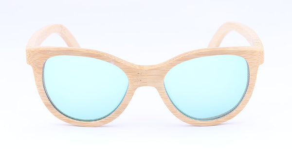 Ladies Natural Bamboo Sunglasses UV400 Polarized Eye Sunglasses W/Box