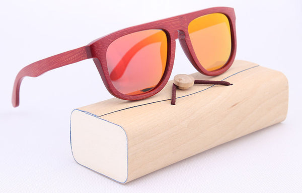 Women's Wood Sunglasses W/Red Frame Wooden Glasses Red Mirror REVO Polaroid Sunglasses W/ Pouch Cloth Bag Case
