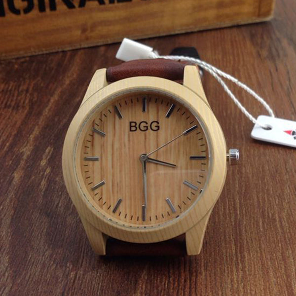 Fashion Brand Unisex Watch Luxury Faux Wooden Watch Unisex Leather Band Quartz Movement