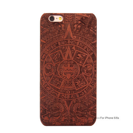 Bamboo Traditional sculptured Hard Back Wooden Cover iPhone Case for iPhone 6s, 6 plus