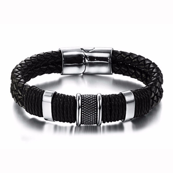 Genuine Leather Men's Bracelet Titanium Stainless Steel Cuff Bracelet w/Black Braid Rope