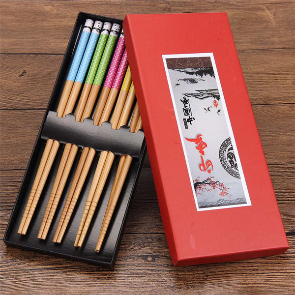 1st Quality Boxed Gift Set Japanese Style Bamboo Wood Chopsticks