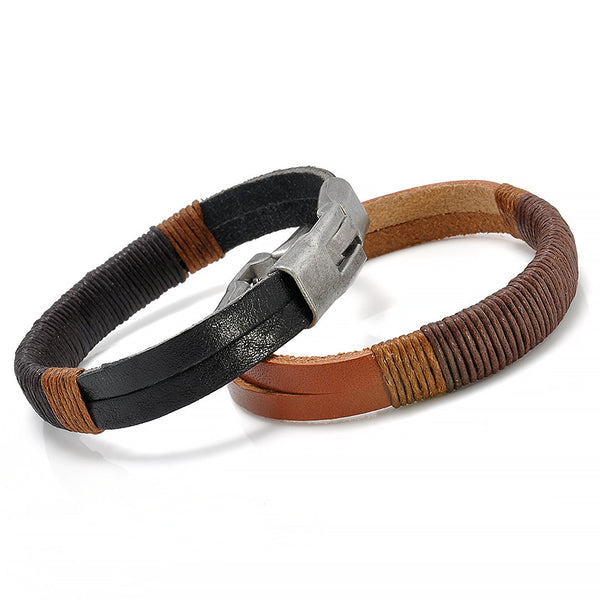 Mens Vintage Style Easy-hook Surfer Hemp Wrap Leather Bracelet Black/Brown
