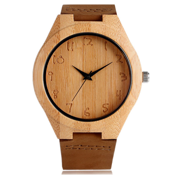 Craftsman Style Natural Bamboo Wood Watch - w/ Burnished Numbers - Genuine Leather Strap - Lady's