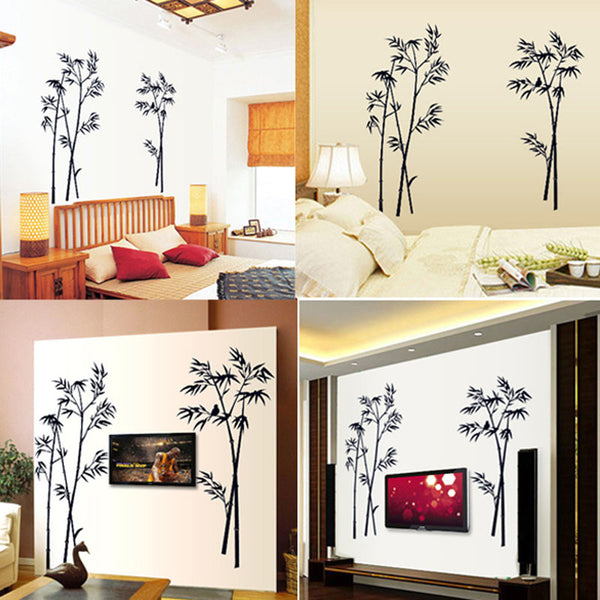 New Bamboo Mural Removable Craft Art Black Wall Sticker/Decal - Living Room - Office Deco - Bedroom FREE SHIP