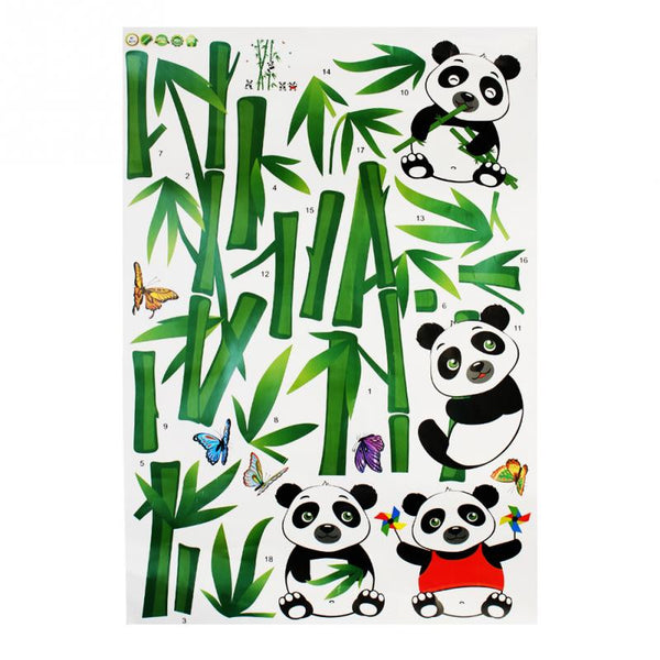 Wallmates Home Decor Mural Vinyl Wall Sticker Cute Panda Eating Bamboo  / Kids Room Wall Art Removable