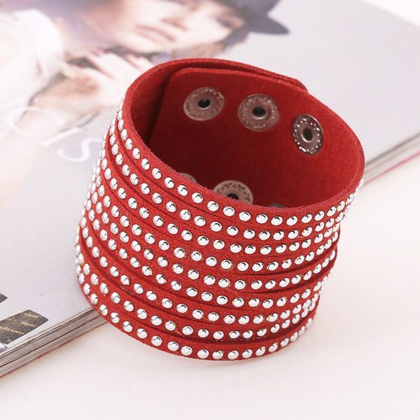 New - Women's Luxury Boho Leather Wrap Cuff Bracelet w/Magnetic Clasp