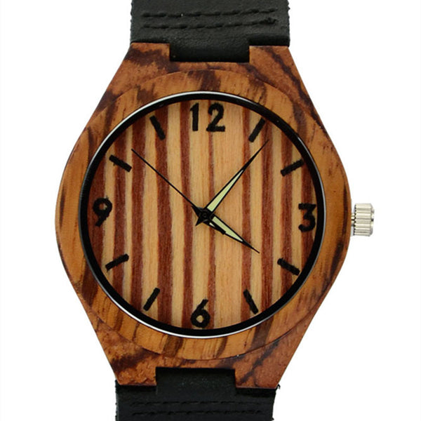 Trendy Men's Zebra Wood Wristwatch w/Black Leather Band