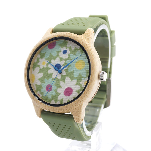 Flower Child Bamboo Wood Watch for Women Soft Silicone Band w/Cloth Dial  - Quartz Watch