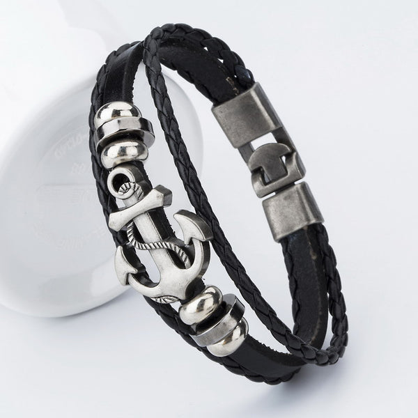 Men's Handcrafted Retro Braided Leather Anchor Bracelet