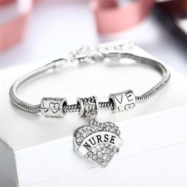 New Charm Crystal Heart Bracelet for Nurses - Nice !