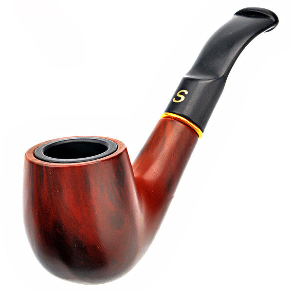 FS-9103 Detachable Polished Wooden Cigarette Tobacco Smoking Pipe Handmade Black Tobacco Pipe Filter Wood Classic Bent Pipe