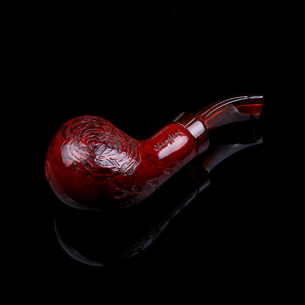 Cool Looking Chubby Red Wood Smoking Pipe + Pipe Rack & Bag