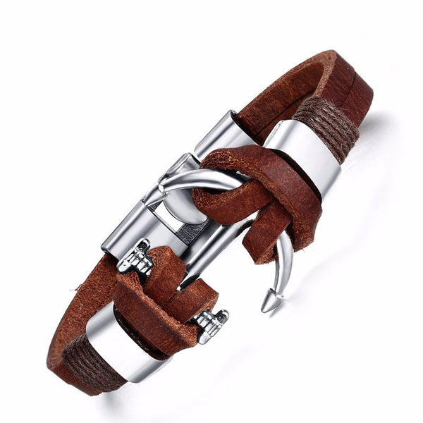 Anchors Away Stainless Steel Bracelet For Men Genuine Cow Leather Bracelet