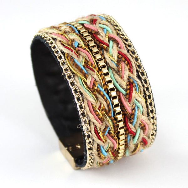Women's Fashion Leather Bracelet w/Hand-woven Hemp Rope Gold-plated Chain / Magnetic Clasp NO12