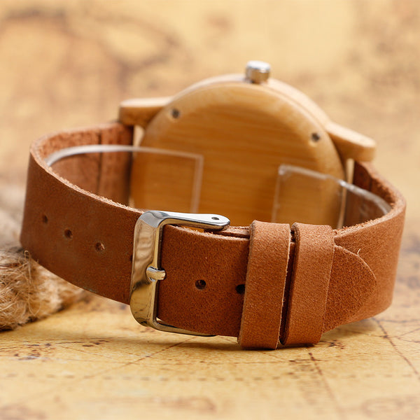 Elegant Minimalistic Bamboo Wood Casual Watch W/Rust & Cream Stripes
