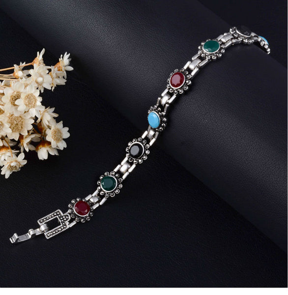 BOHO Bohemian Bracelet Vintage Silver Plated Unique Flower Resin Beads Bracelet For Women Gift
