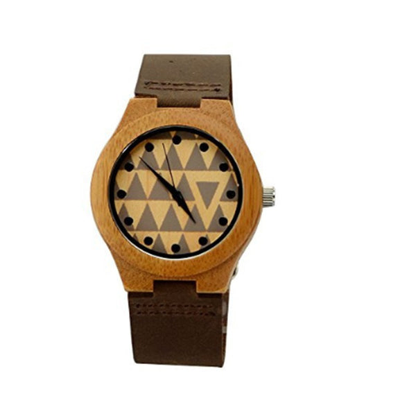Chic Women's Bamboo Wooden Casual Watches w/Triangular Egyptian Pattern