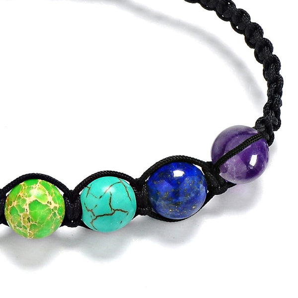 Muti-color Chakra Beads Bracelets Adjustable Braided Rope Healing Bracelet for Men or Women Reiki Prayer Stones