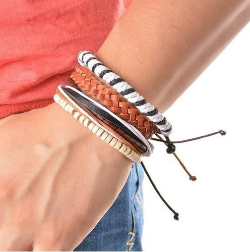 4pc Set Braided Adjustable Leather Cuff  Bracelet Unisex - Six Variations