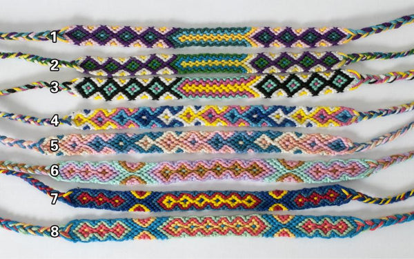 8pc./Lot Mixed Colors Boho Friendship Bracelets 1cm Wide Handmade Woven Rope Cotton Bracelets