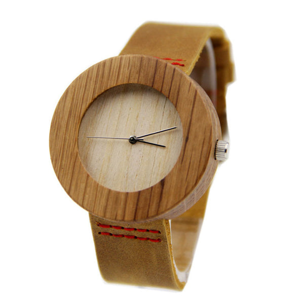 Women's Bamboo Wooden Fashion Watch With 100% Genuine Leather Band w/Japanese MIYOTA Movement