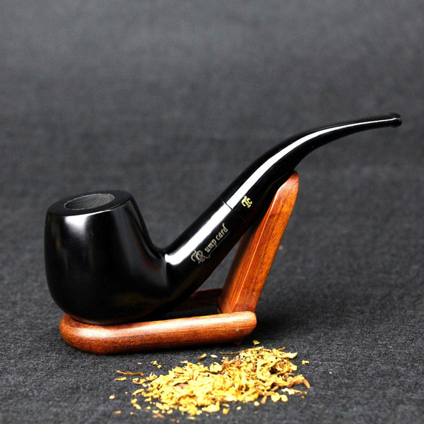 Beautiful Handmade Black Ebony Wood Smoking Pipe 9mm Filter Classic Bentwood Pipe Design