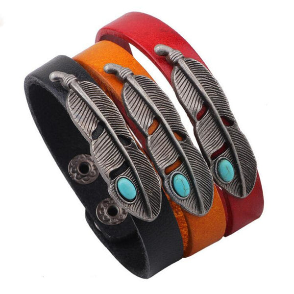 New Bohemian Turquoise Stone Leather Wristband w/Silver Plated Feather Charm Leather Bracelets For Women