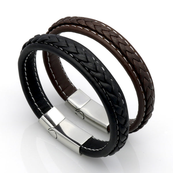Men's Top Quality Genuine Leather Stainless Steel Leather Braid Bracelet W/ Magnetic Buckle Clasp