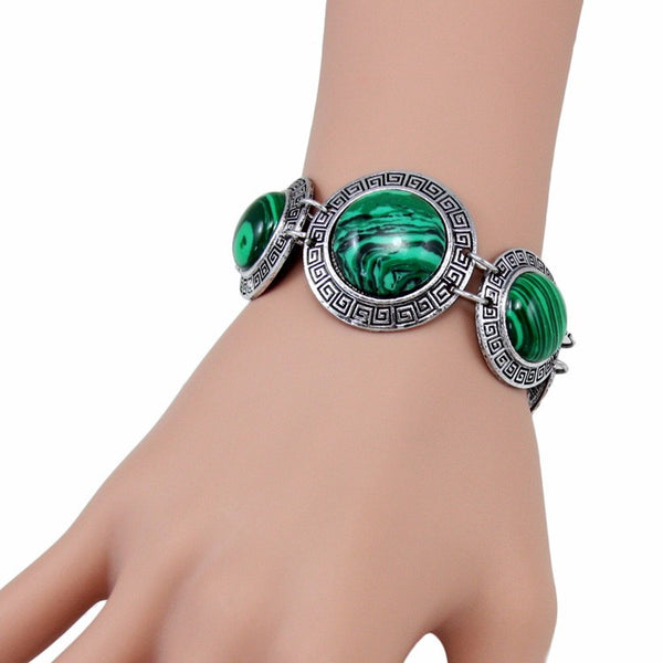Lady's Vintage Style Bohemian Bangle Bracelet With Green Resin Inlays