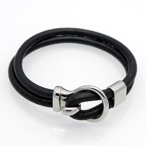 Genuine Leather Titanium Steel Saddle Buckle Men's Bracelet