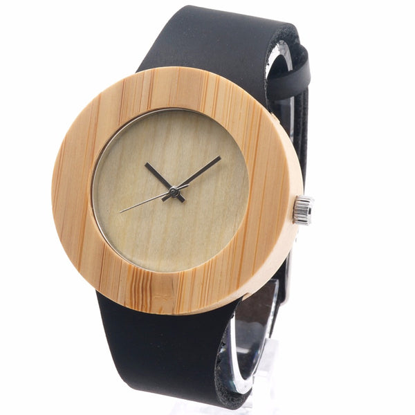 Lady's Minimalistic Design Luxury Wooden Bamboo Watch W/Real Leather Quartz Watch in Gift Box