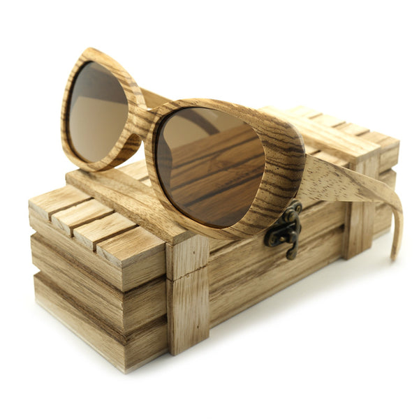 Men's Polarized Sun Glasses Zebrawood  Bamboo Design W/ Reflective Mirror Tint