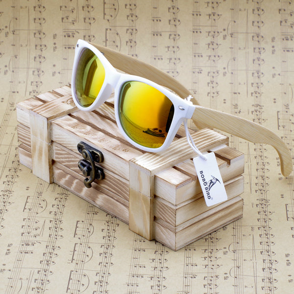 Summertime Cool - Lady's Genuine Real Bamboo Wood Rectangular Polarized Sunglasses With Reflective Mirror Tint