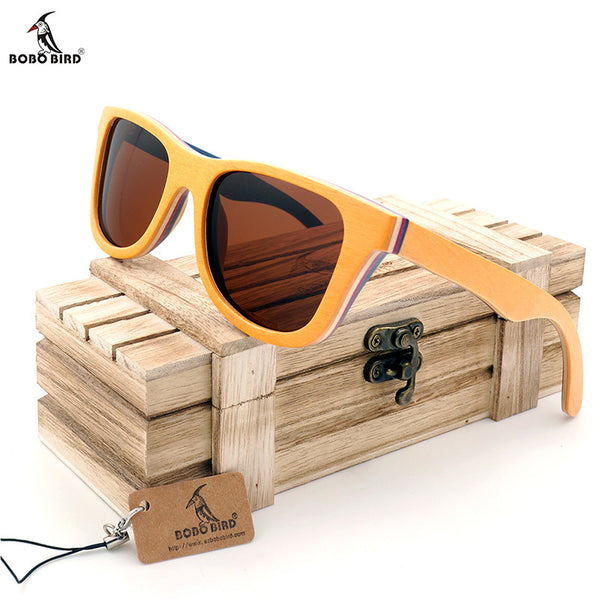 Skateboard Wooden Bamboo Polarized Sunglasses W/ Sandwiched Wooden Frame Sunglasses With Gift Box - HOT ITEM