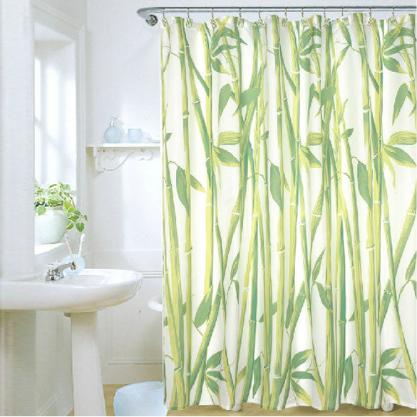 "180 x 180cm  Bamboo Forest Waterproof Fabric Bathroom Shower Curtain With 12pcs Curtain Hooks Rings Free Shipping 72"" x 72"""