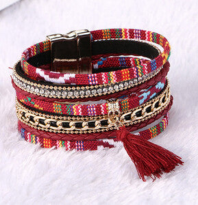 Stylish Boho Magnetic Clasp Leather Multilayer Bracelets - Mult-Colors