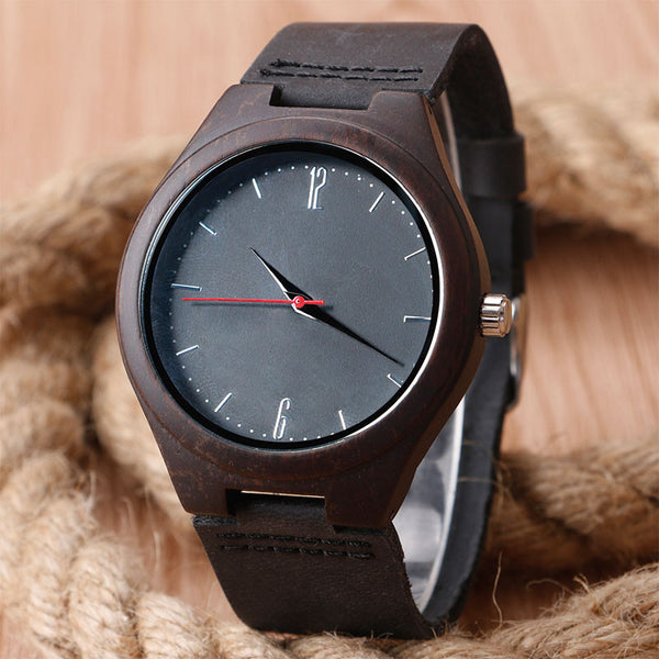 Natural Bamboo Dark Wood Wrist Watch / Analog Sport Watch - Genuine Leather Band