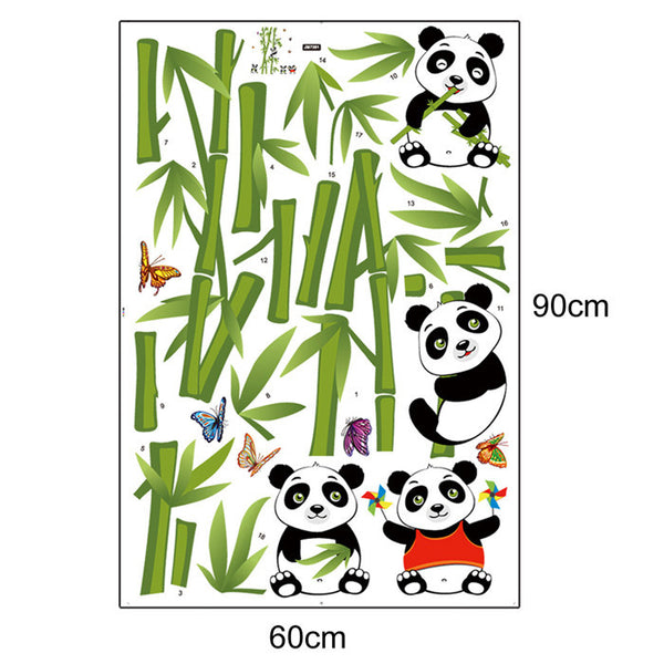 Home Decor Vinyl Wall Sticker Removable Cute Pandas with/ Bamboo -  Kid's Room Decorative Art Decals