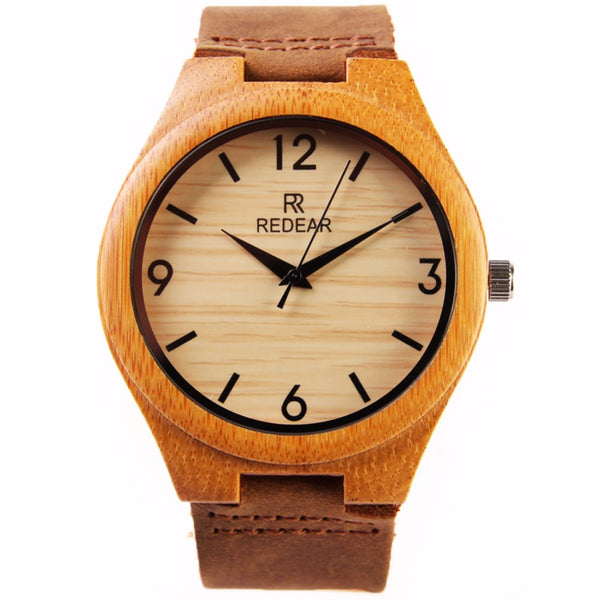 Men's Redear Bamboo Wooden Watch Natural Quartz w/Brown Leather Strap