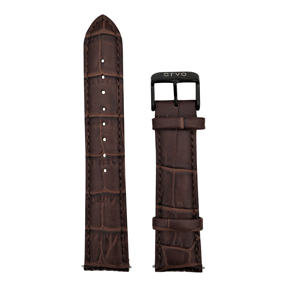 Alligator Print Stitched Leather Watch Band (New!)