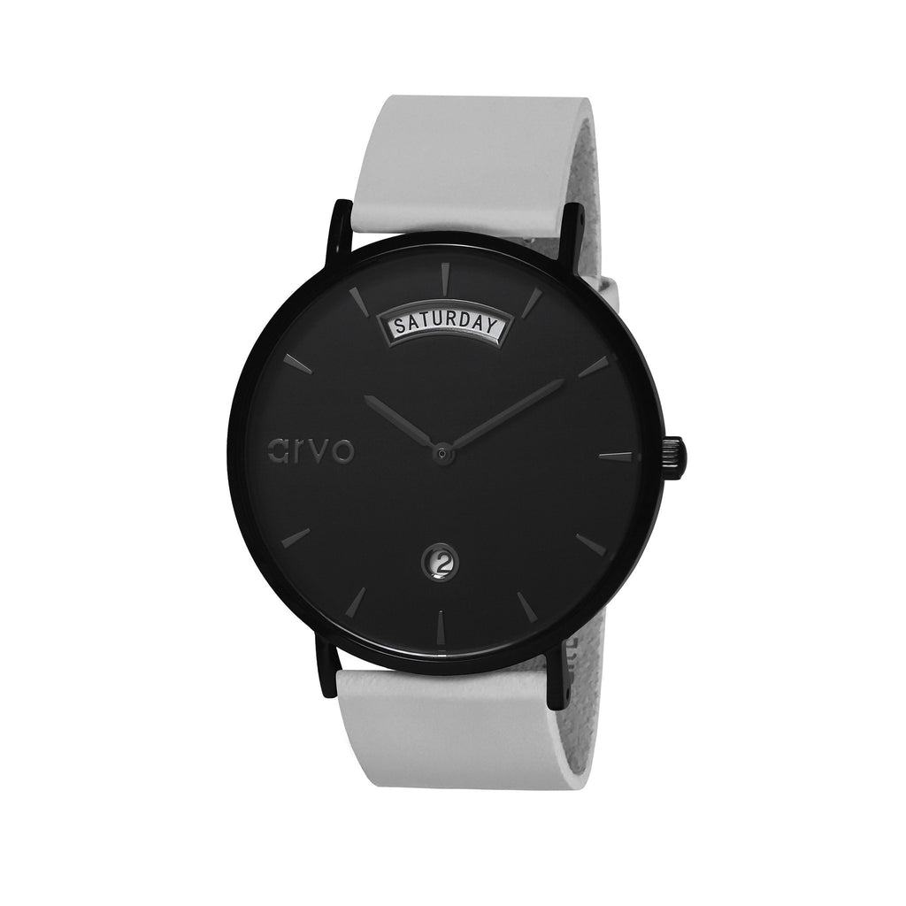 Arvo Black Awristacrat Watch - Gray Leather