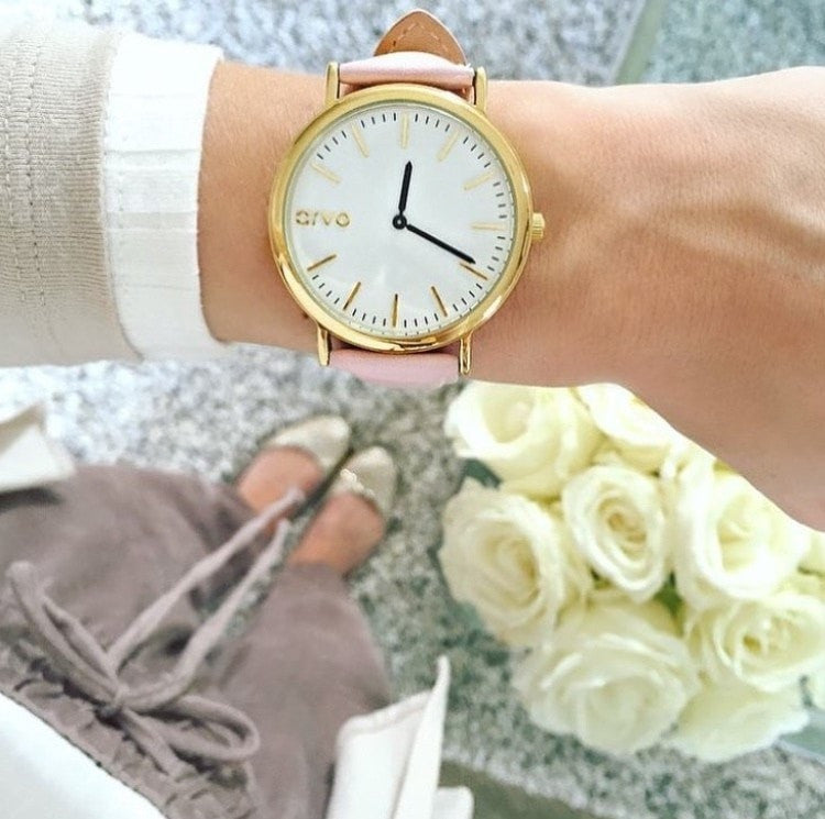 Blush Pink Genuine Leather Watch Band - Gold Clasp