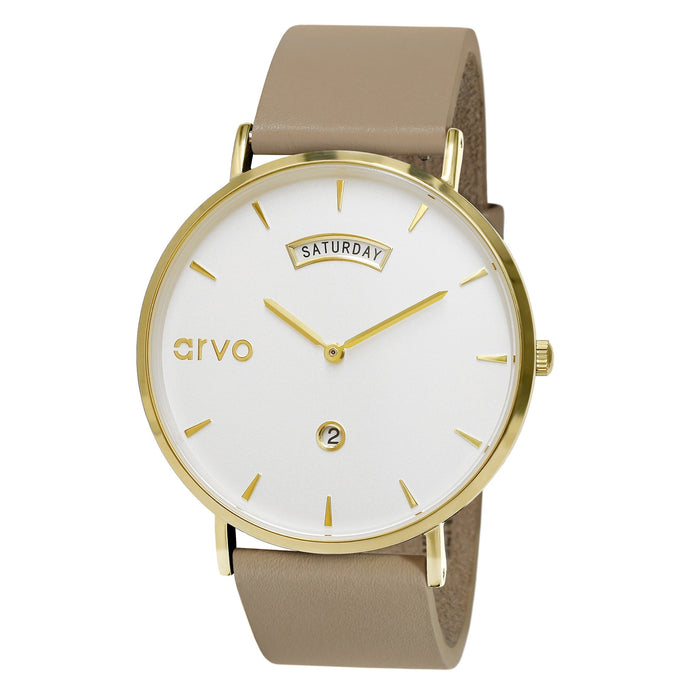 The Awristacrat | Gold - Nude Leather Band 40mm